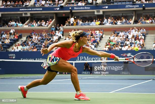 Angelique Kerber of Germany returns a shot against Karolina Pliskova of the Czech Republic during their Women's Singles Final Match on Day Thirteen...