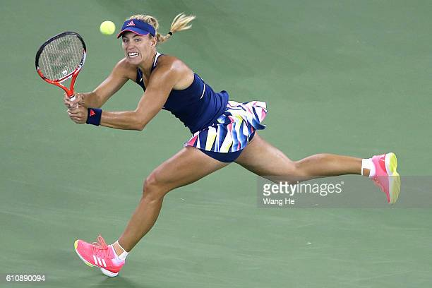 Angelique Kerber of Germany returns a shot during the match against Petra Kvitova of Czech on Day 4 of 2016 Dongfeng Motor Wuhan Open at Optics...