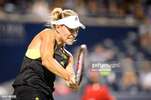 Angelique Kerber of Germany returns the ball during her second round match of the 2017 Rogers Cup tennis tournament on August 9 at Aviva Centre in...