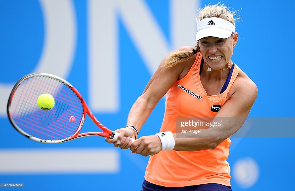 Angelique Kerber of Germany returns the ball in her singles final match against Karolina Pliskova of Czech Republic on day seven of the Aegon Classic at Edgbaston Priory Club on June 21, 2015 in Birmingham, England.