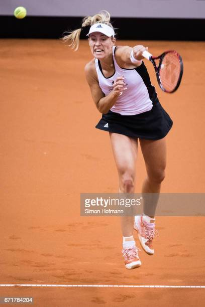 Angelique Kerber of Germany serves against Elina Svitolina of Ukraine during the FedCup World Group PlayOff match between Germany and Ukraine at...