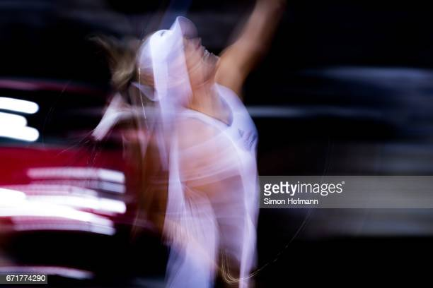 Angelique Kerber of Germany serves against Elina Svitolona of Ukraine during the FedCup World Group PlayOff match between Germany and Ukraine at...
