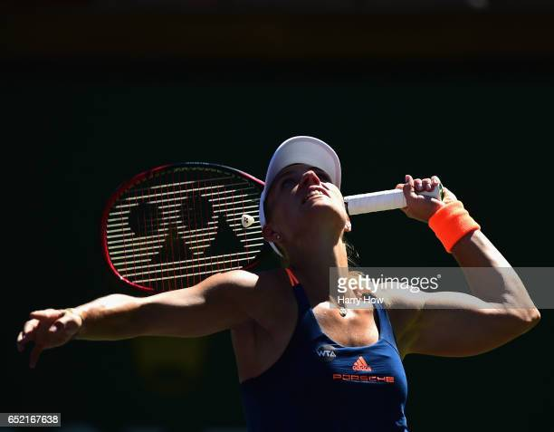 Angelique Kerber of Germany serves during her straight set win over Andrea Petkovic of Germany at Indian Wells Tennis Garden on March 11 2017 in...