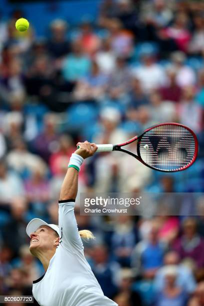 Angelique Kerber of Germany serves during her women's singles match against Kristyna Pliskova of Czech Republic during day four of the Aegon...