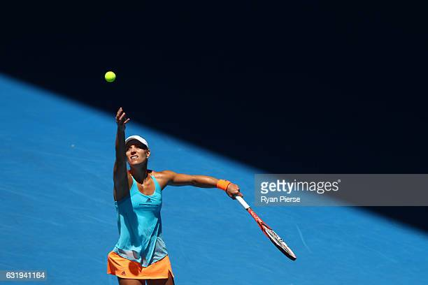 Angelique Kerber of Germany serves in her second round match against Carina Witthoeft of Germany on day three of the 2017 Australian Open at...