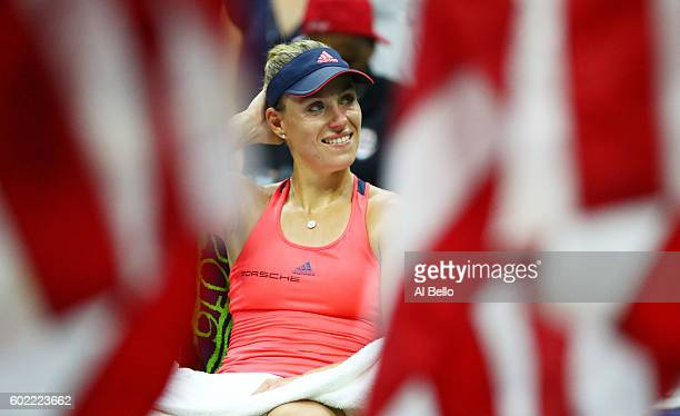 Angelique Kerber of Germany smiles after winning against Karolina Pliskova of the Czech Republic during their Women's Singles Final Match on Day...
