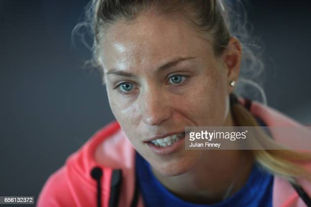 Angelique Kerber of Germany talks to the media at Crandon Park Tennis Center on March 21 2017 in Key Biscayne Florida