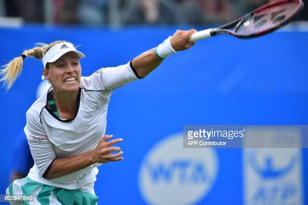 Angelique Kerber plays a shot against Kristina Pliskova during their women's singles round two tennis match at the ATP Aegon International tennis...