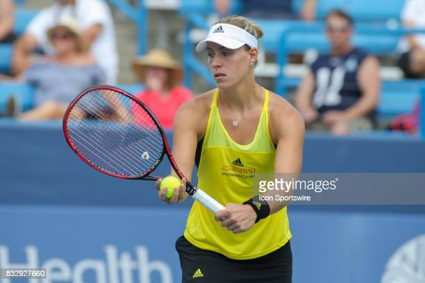 Angelique Kerber prepares to serve during the Western Southern Open at the Lindner Family Tennis Center in Mason Ohio on August 16 2017