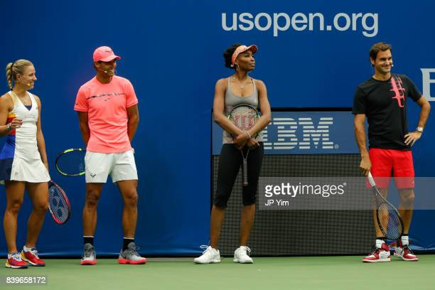 Angelique Kerber Rafael Nadal Venus Williams and Roger Federer participate in the 22nd Annual Arthur Ashe Kid's Day event at the USTA Billie Jean...