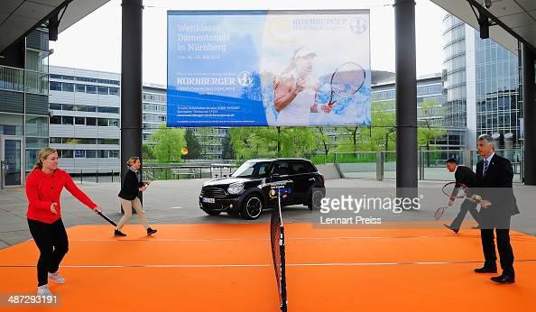 Angelique Kerber Sandra Reichel tournament director Ralf Schepull of BMW Mini Nuernberg and Armin Zitzmann CEO of Nuernberger Versicherungsgruppe...
