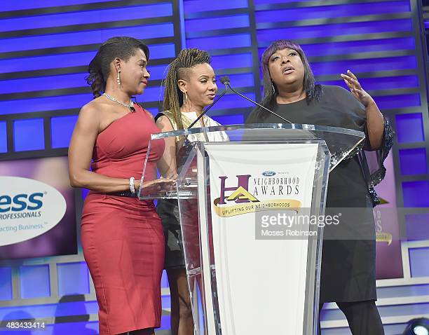 Angelique MC Lyte and Loni Love speak at the 2015 Ford Neighborhood Awards Hosted By Steve Harvey at Phillips Arena on August 8 2015 in Atlanta...