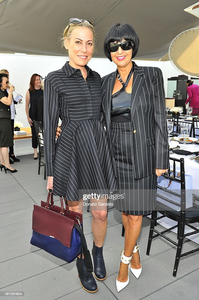 Angelique Soave and Larissa Sabadash attends Vhernier luncheon hosted by Jennifer Hale from C Magazine at Gagosian Gallery on November 7, 2013 in Beverly Hills, California.