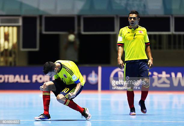 Angellot Caro of Colombia celebrates a late equaliser during the FIFA Futsal World Cup Group A match between Colombia and Uzbekistan at the Coliseo...