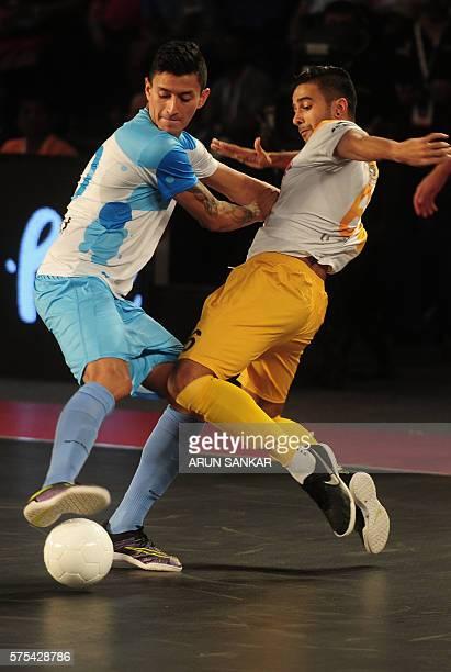 Angellot from the Mumbai 5's plays against Chennai 5's Yash the during their Premier Futsal Football League match in Chennai on July 15 2016 Mumbai...