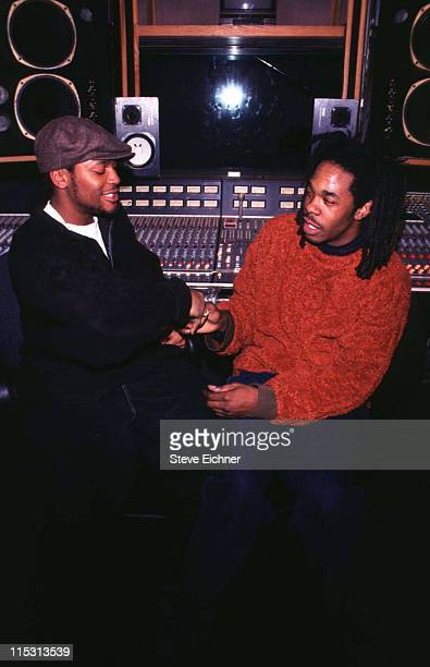 D'Angelo and Busta Rhymes during D'Angelo and Busta Rhymes in Recording Studio in New York City New York United States
