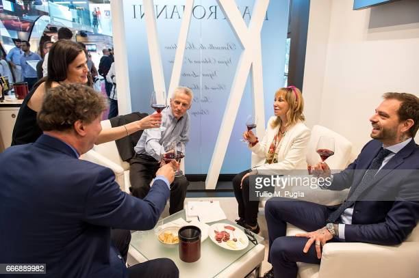 Angelo Baiguera Thais Souza Wiggers Rossana Bettini Riccardo Illy and Paul Baccaglini President of Palermo visit Vinitaly on April 10 2017 in Verona...