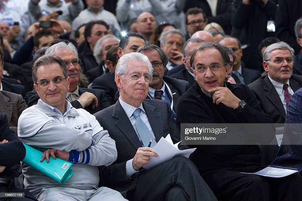 Angelo Coppola, plant manager, Italian Prime Minister <a gi-track='captionPersonalityLinkClicked' href=/galleries/search?phrase=Mario+Monti&family=editorial&specificpeople=632091 ng-click='$event.stopPropagation()'>Mario Monti</a> and Fiat CEO <a gi-track='captionPersonalityLinkClicked' href=/galleries/search?phrase=Sergio+Marchionne&family=editorial&specificpeople=608333 ng-click='$event.stopPropagation()'>Sergio Marchionne</a> visit the Fiat plant on December 20, 2012 in Melfi, Italy. The visit comes as the car maker's chief executive, <a gi-track='captionPersonalityLinkClicked' href=/galleries/search?phrase=Sergio+Marchionne&family=editorial&specificpeople=608333 ng-click='$event.stopPropagation()'>Sergio Marchionne</a>, announced plans to build new sport utility vehicles (SUV) at its Melfi plant by year-end.