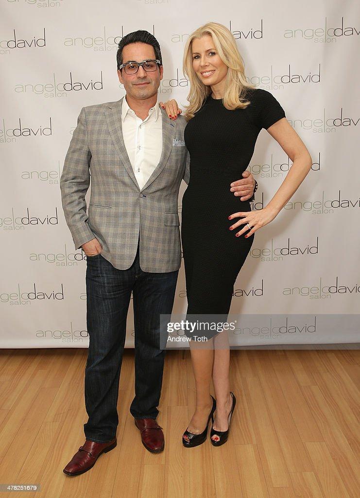 Angelo David (L) and Aviva Drescher attend Aviva Drescher's 'Leggy Blonde' book launch celebration at Angelo David Salon on March 12, 2014 in New York City.