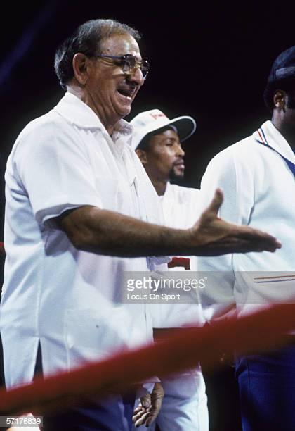Angelo Dundee Sugar Ray Leonard's manager gestures to him beside the ring during a game circa late 1960's