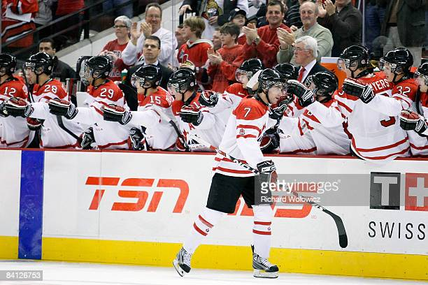 Angelo Esposito celebrates his second period goal with teammates during the game against Team Czech Republic at the IIHF World Junior Championships...