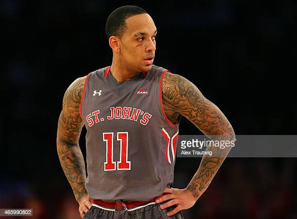 Angelo Harrison of the St John's Red Storm looks on during a stop in play in the second half against the Providence Friars during a quarterfinal game...