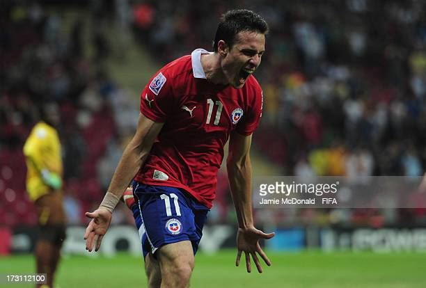 Angelo Henriquez of Chile celebrates his goal during the FIFA U20 World Cup QuarterFinal match between Ghana and Chile at the Ali Sami Yen Arena on...