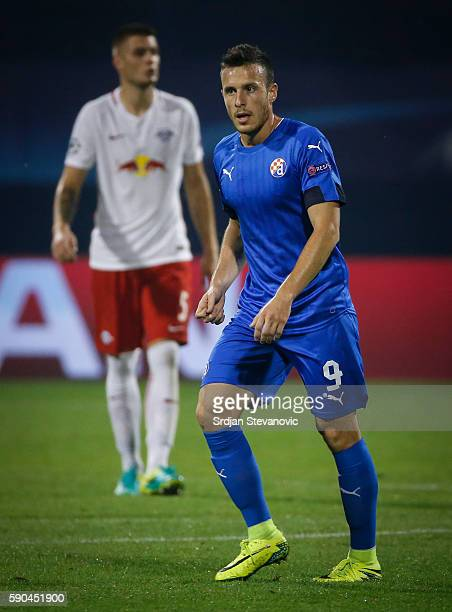 Angelo Henriquez of Dinamo Zagreb looks on during the UEFA Champions League Playoffs First leg match between Dinamo Zagreb and Salzburg at Stadion...