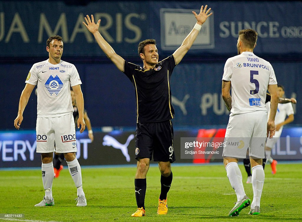 Angelo Henriquez (C) of FC Dinamo Zagreb celebrates the goal during the UEFA Champions League Third Qualifying Round 1st Leg match between FC Dinamo Zagreb and FC Molde at Maksimir stadium on July 28, 2015 in Zagreb, Croatia.