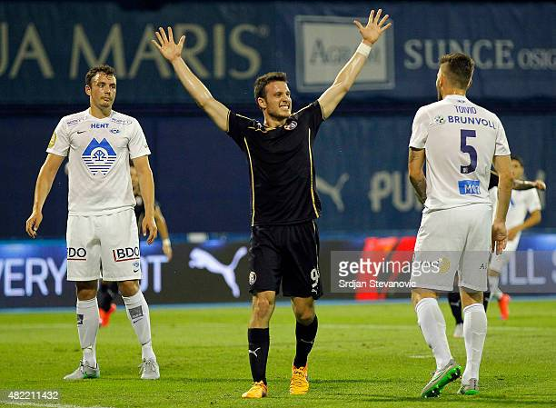 Angelo Henriquez of FC Dinamo Zagreb celebrates the goal during the UEFA Champions League Third Qualifying Round 1st Leg match between FC Dinamo...