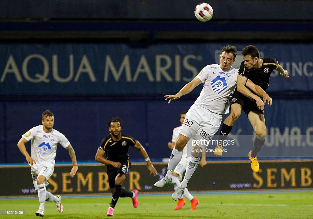 ZAGREB, CROATIA - JULY 28. Angelo Henriquez (R) of FC Dinamo Zagreb in action against Knut Olav Rindaroy (L) of FC Molde during the UEFA Champions League Third Qualifying Round 1st Leg match between FC Dinamo Zagreb and FC Molde at Maksimir stadium on July 28, 2015 in Zagreb, Croatia.