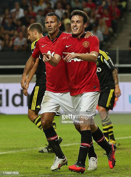 Angelo Henriquez of Manchester United celebrates scoring their first goal during the preseason friendly match between AIK Fotboll and Manchester...