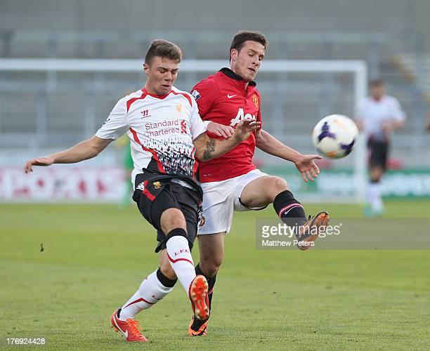 Angelo Henriquez of Manchester United U21s in action during the Barclays U21s Premier League match between Manchester United U21s and Liverpool U21s...