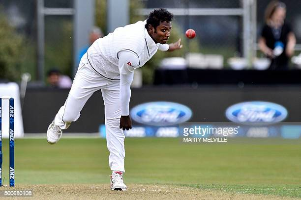 Angelo Mathews captain of Sri Lanka bowls during day one of the first International Test cricket match between New Zealand and Sri Lanka in Dunedin...