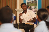 Angelo Mathews of Sri Lanka and Ambassador for the 'Room to Read Project' addresses local children participating in one of the ICC Community events...