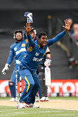 Angelo Mathews of Sri Lanka appeals for the wicket of Brendon McCullum of New Zealand during the 2015 ICC Cricket World Cup match between Sri Lanka...