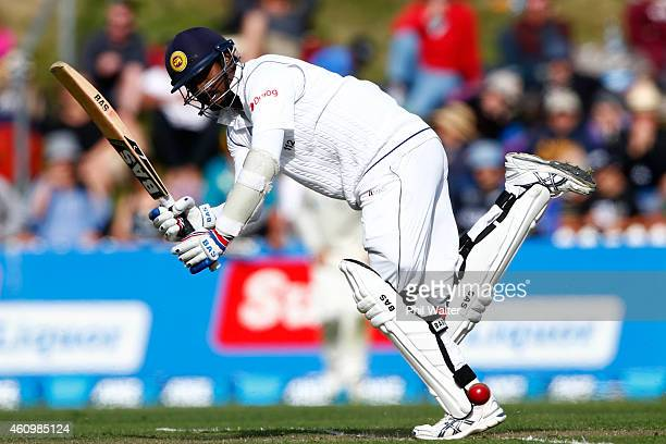Angelo Mathews of Sri Lanka bats during day one of the Second Test match between New Zealand and Sri Lanka at Basin Reserve on January 3 2015 in...