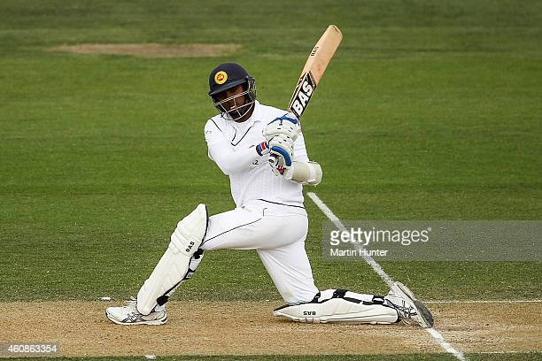 Angelo Mathews of Sri Lanka bats during day three of the First Test match between New Zealand and Sri Lanka at Hagley Oval on December 28 2014 in...