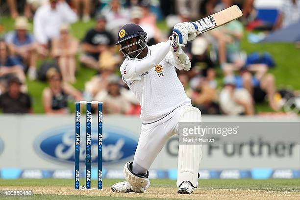 Angelo Mathews of Sri Lanka bats during day two of the First Test match between New Zealand and Sri Lanka at Hagley Oval on December 27 2014 in...