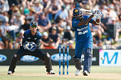Angelo Mathews of Sri Lanka bats during game five of the One Day International series between New Zealand and Sri Lanka at Bay Oval on January 5 2016...