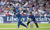 Angelo Mathews of Sri Lanka bats during the 1st ODI Royal London One Day match between England and Sri Lanka at Trent Bridge on June 21 2016 in...