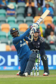 Angelo Mathews of Sri Lanka bats during the 2015 Cricket World Cup match between Sri Lanka and Scotland at Bellerive Oval on March 11 2015 in Hobart...