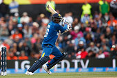 Angelo Mathews of Sri Lanka bats during the 2015 ICC Cricket World Cup match between Sri Lanka and New Zealand at Hagley Oval on February 14 2015 in...