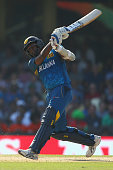 Angelo Mathews of Sri Lanka bats during the 2015 ICC Cricket World Cup match between South Africa and Sri Lanka at Sydney Cricket Ground on March 18...
