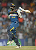 Angelo Mathews of Sri Lanka bats during the 4th One Day International match between Sri Lanka and England at R Premadasa Stadium on December 7 2014...