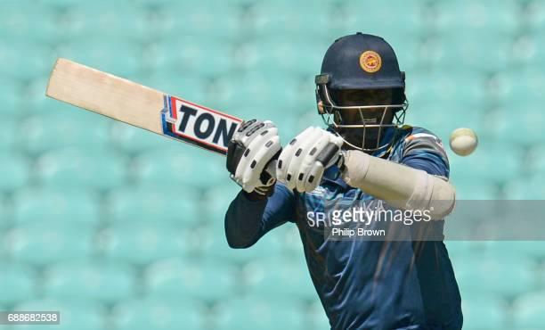 Angelo Mathews of Sri Lanka bats during the ICC Champions Trophy Warmup match between Australia and Sri Lanka at the Kia Oval cricket ground on May...