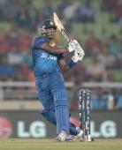Angelo Mathews of Sri Lanka bats during the ICC World Twenty20 Bangladesh 2014 semi final between Sri Lanka and the West Indies at ShereBangla Mirpur...