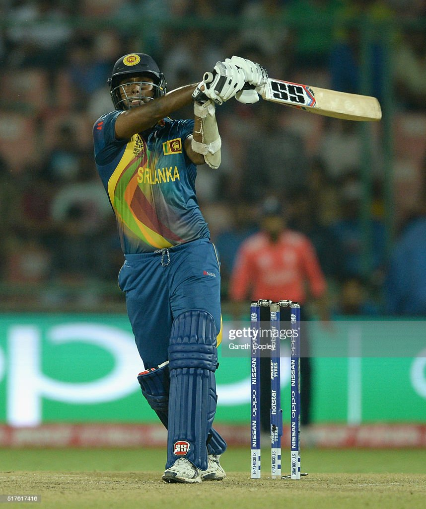 <a gi-track='captionPersonalityLinkClicked' href=/galleries/search?phrase=Angelo+Mathews&family=editorial&specificpeople=5622021 ng-click='$event.stopPropagation()'>Angelo Mathews</a> of Sri Lanka bats during the ICC World Twenty20 India 2016 Group 1 match between England and Sri Lanka at Feroz Shah Kotla Ground on March 26, 2016 in Delhi, India.
