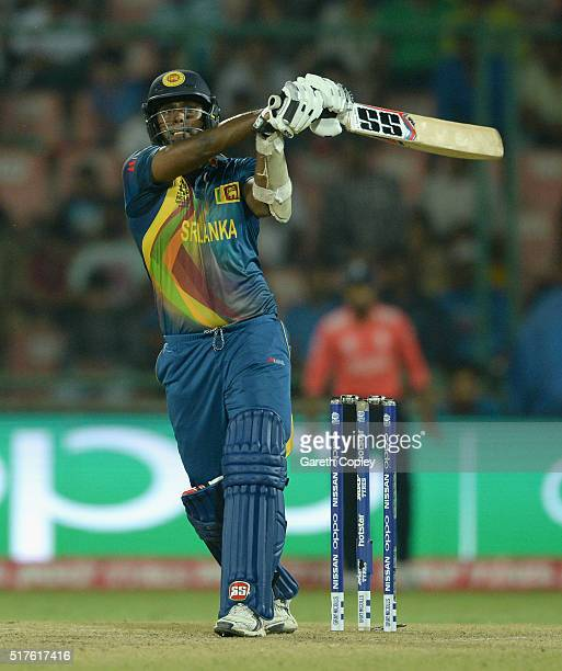 Angelo Mathews of Sri Lanka bats during the ICC World Twenty20 India 2016 Group 1 match between England and Sri Lanka at Feroz Shah Kotla Ground on...