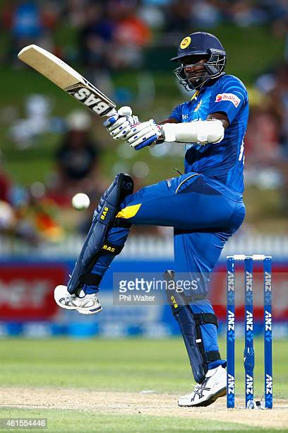Angelo Mathews of Sri Lanka bats during the One Day International match between New Zealand and Sri Lanka at Seddon Park on January 15 2015 in...
